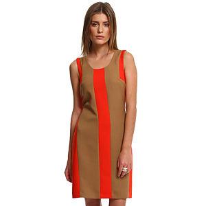 Enmoda Vizon/Turuncu Panel Elbise