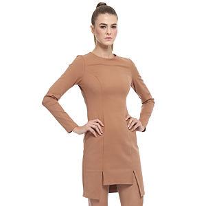 Enmoda Yırtmaçlı Kahverengi Elbise