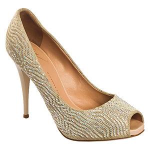 Giuseppe Zanotti Taşlı Krem Topuklu Ayakkabı