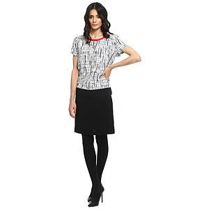 Koton Beyaz/Siyah Kareli Elbise