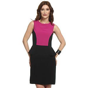 Koton Fuşya/Siyah Peplum Elbise
