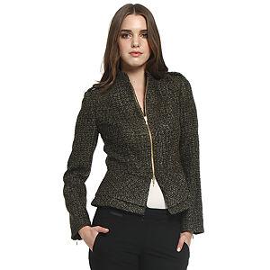 Koton Haki/Siyah Kırçıllı Peplum Ceket