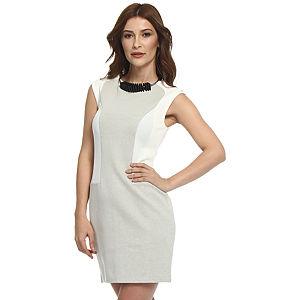 Koton Krem/Bej Panel Elbise