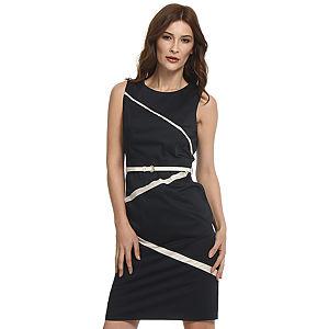 Koton Krem Şeritli Lacivert Elbise
