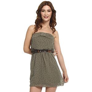 Koton Ole Kalpli Yeşil Straplez Elbise