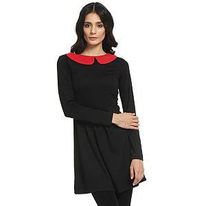 Koton Ole Kırmızı Yakalı Siyah Elbise