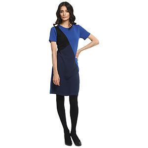 Koton Saks Mavisi Asimetrik Panel Elbise