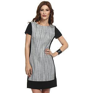 Koton Siyah/Gri Panel Elbise