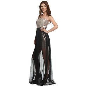 Koton Siyah Tül Etekli Dore Elbise