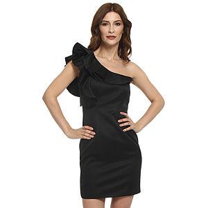 Koton Tek Omuzlu Fırfırlı Siyah Elbise