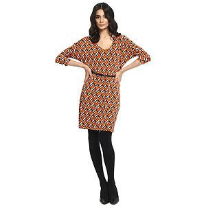 Koton Turuncu/Kahverengi Desenli Elbise