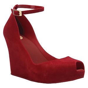 Melissa Dolgu Topuklu Kırmızı Kadife Ayakkabı