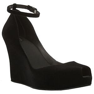 Melissa Dolgu Topuklu Siyah Kadife Ayakkabı
