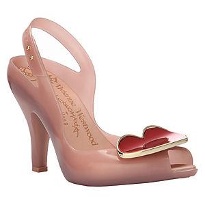Melissa Kırmızı Kalpli Pembe Topuklu Ayakkabı