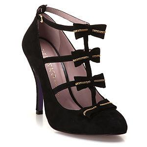 Miezko Fiyonklu Siyah Topuklu Ayakkabı
