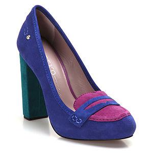 Miezko Saks Mavisi/Pembe Topuklu Ayakkabı