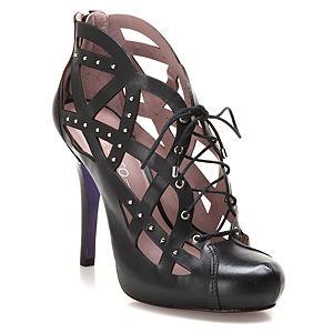 Miezko Siyah Kafes Topuklu Ayakkabı