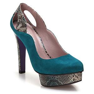 Miezko Yılan Desenli Petrol Yeşili Topuklu Ayakkabı