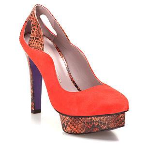 Miezko Yılan Desenli Turuncu Topuklu Ayakkabı