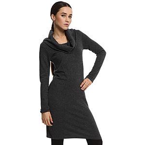 Silk & Cashmere Degaje Yaka Gri Kaşmir Elbise