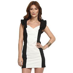 TFNC London Siyah/Beyaz Panel Elbise