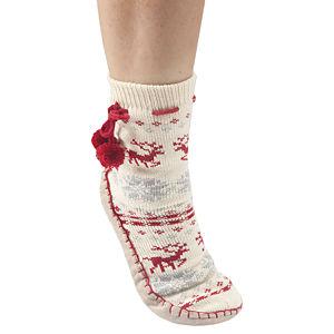 Twigy Kış Desenli Beyaz Çorap