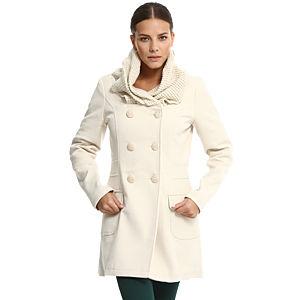 Vero Moda Örgü Yakalı Krem Rengi Palto