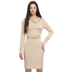 Balizza İnci Yakalı Bej Elbise