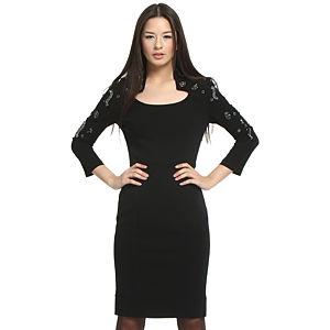 Balizza Kolları Taşlı Siyah Elbise