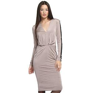 Balizza Siyah Kollu Vizon Elbise