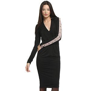 Balizza Vizon Kollu Siyah Elbise