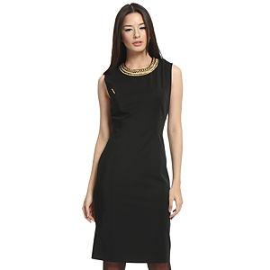 Balizza Zincir Yakalı Siyah Elbise