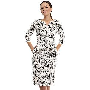 Enmoda Beyaz/Siyah Peplum Elbise