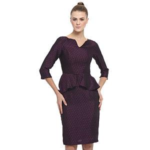 Enmoda Bordo/Siyah Peplum Elbise