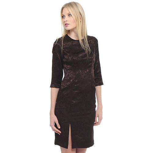 Enmoda Çiçekli Kahverengi Elbise