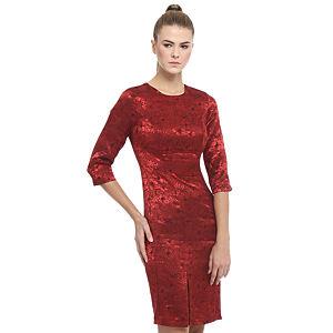 Enmoda Çiçekli Kırmızı Elbise