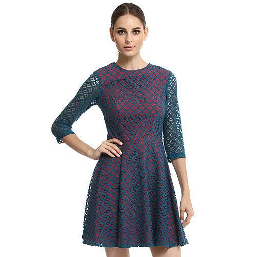 Enmoda Dantelli Mavi/Kırmızı Elbise