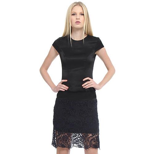 Enmoda Dantelli Siyah/Lacivert Peplum Elbise