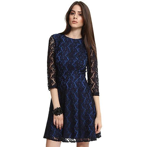 Anasayfa giyim elbise enmoda dantelli siyah mavi elbise