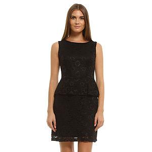 Enmoda Dantelli Siyah Peplum Elbise
