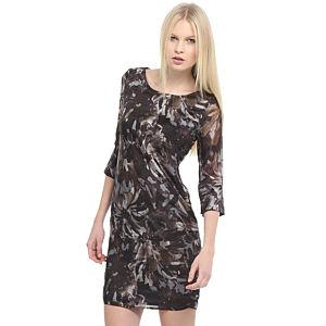 Enmoda Desenli Kahverengi Elbise