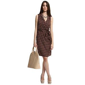 Enmoda Desenli Lacivert/Turuncu Elbise