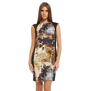 Enmoda Desenli Siyah/Kahverengi Panel Elbise