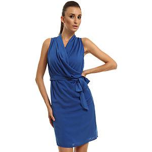 Enmoda Kuşaklı Saks Mavi Elbise