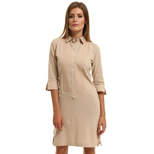 Enmoda Polo Yaka Bej Elbise