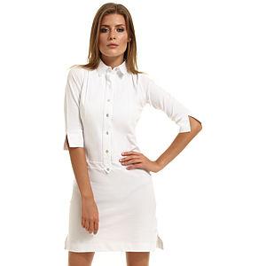 Enmoda Polo Yaka Beyaz Elbise