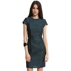 Enmoda Yeşil/Siyah Brokar Elbise