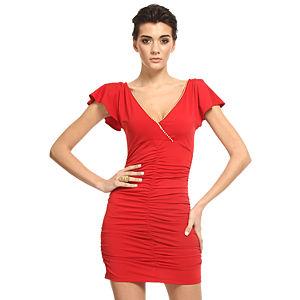Mystictimes Büzgülü Kırmızı Elbise