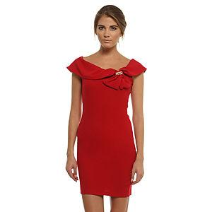 Mystictimes Çiçek Broşlu Kırmızı Elbise