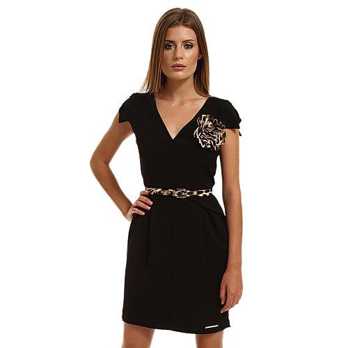 Mystictimes Çiçek Broşlu Siyah Elbise